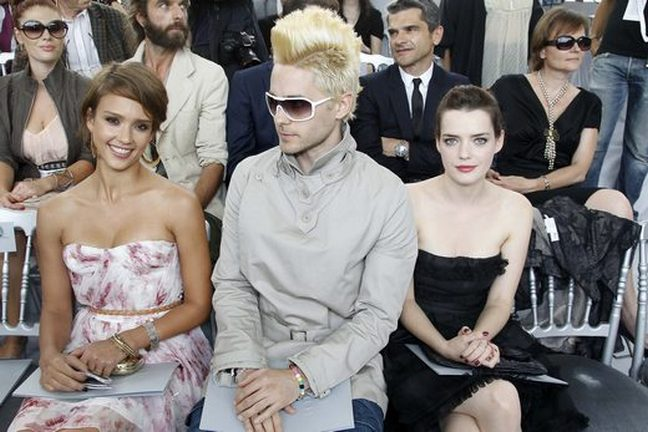 Jessica Alba pink summer dress jared leto blond mohawk