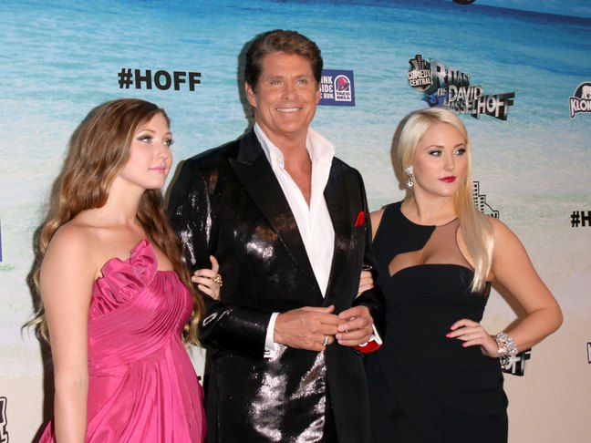 David Hasselhoff, sparkly suit jacket, Hayley Hasselhoff, black dress, large earrings, Taylor Hasselhoff pink dress