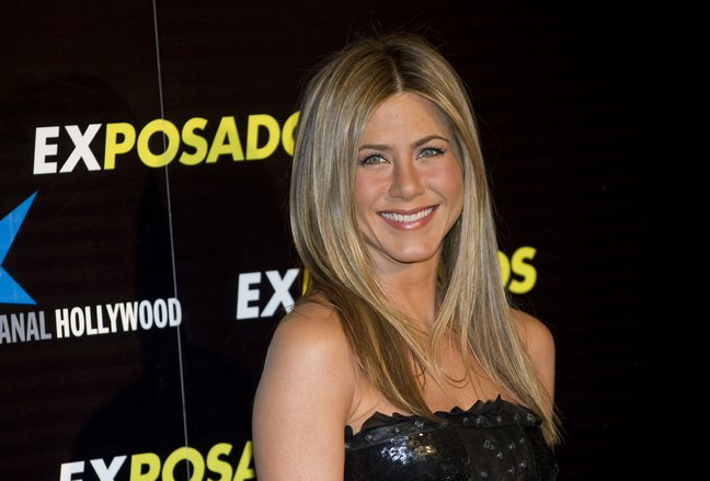 Jennifer Aniston, black strapless dress
