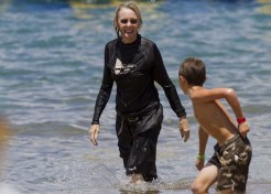 Diane Keaton Makes A Splash With Her Son