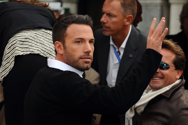 Ben Affleck, black sweater, white collar
