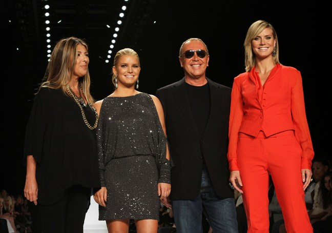 Heidi Klum, red suit, red shoes, project runway, fashion week, jessica simpson