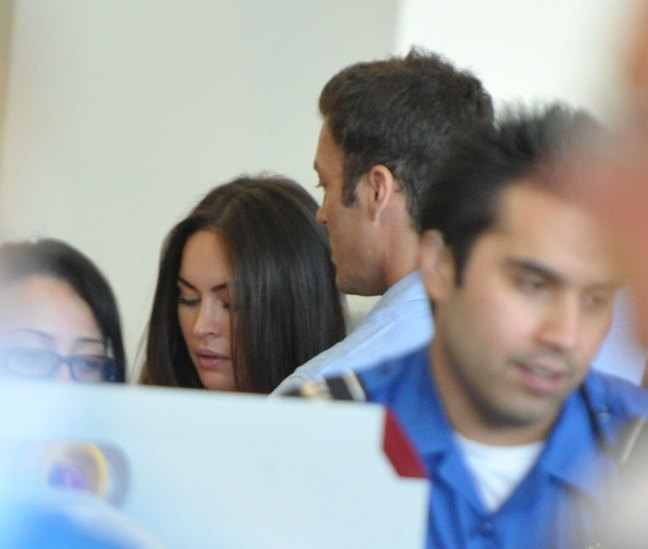 Megan Fox, straight hair, Brian Austin Green, light blue shirt