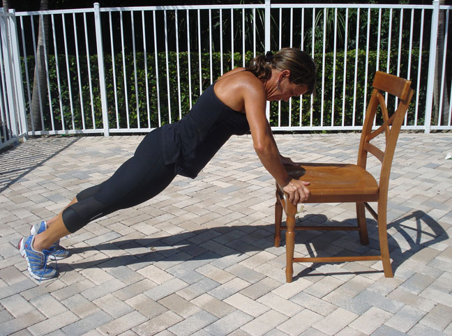 INCLINE PUSH UP ON A CHAIR