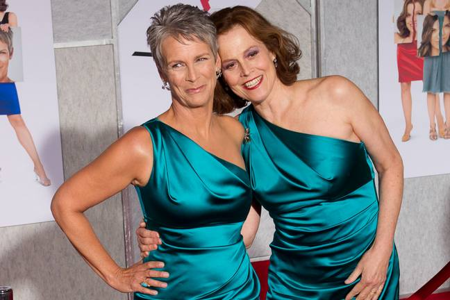 Jamie Lee Curtis, Sigourney Weaver, green one-shoulder dress, green silk dress, teal silk dress,