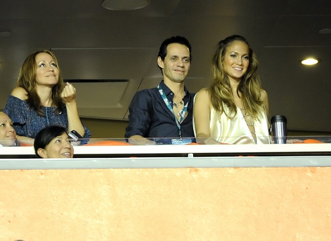 Jennifer Lopez, silk champagne color blouse, cream color top, necklaces, beaded neckline, Marc Anthony
