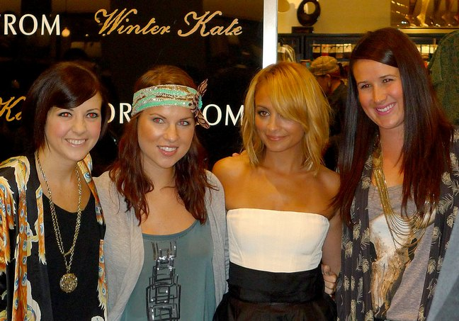 Nicole Richie, white and black dress, Winter Kate launch, strapless dress