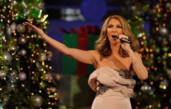 Celine Dion, beige dress, christmas concert