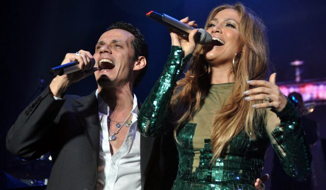 Jennifer Lopez, green sequin dress, Marc Anthony, Puerto Rico