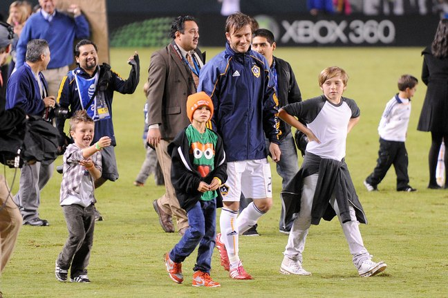 David Beckham, L.A. Galaxy jacket, jersey, soccer game