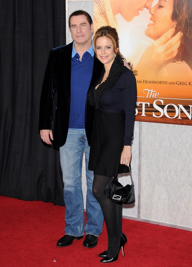 John Travolta, Kelly Preston, blue dress