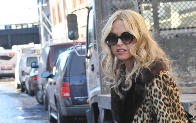 Rachel Zoe wearing leopard print coat, sunglasses