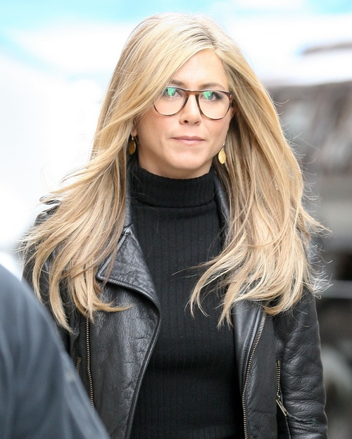 jennifer aniston, black shirt, black sweater, eyeglasses, black leather coat