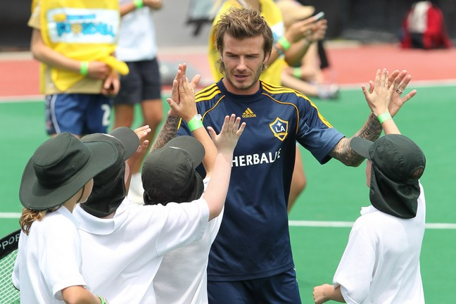 David Beckham, LA Galaxy uniform, blue shorts, blue shirt