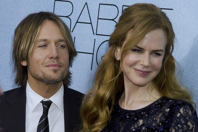 Nicole Kidman, black lace dress, Keith Urban, dark suit