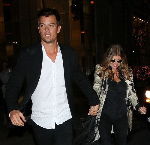 Fergie, black and white print jacket, black pants, sunglasses, Josh Duhamel