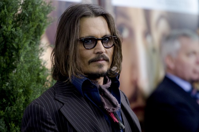 Johnny Depp, dark glasses, dark suit