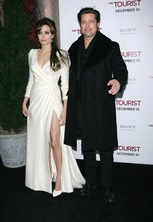 Angelina jolie, white slit dress, white floor length dress, white thigh-high slit dress,