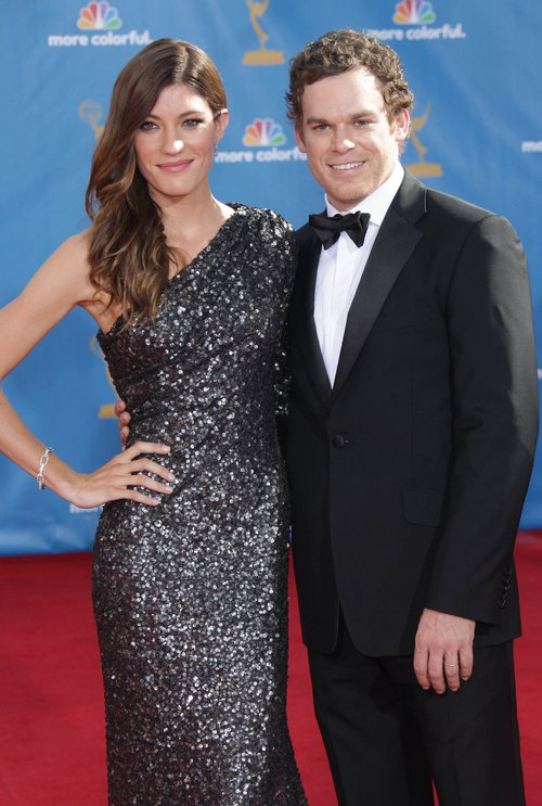 Michael C. Hall, tuxedo, Jennifer Carpenter grey silver gown