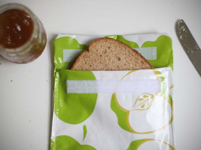 sandwich bag with green apple print