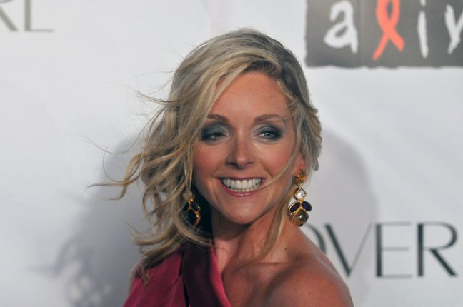 Jane Krakoski, burgandy dress
