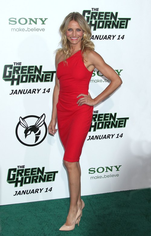 Cameron Diaz, red dress, long red dress, sleeveless red dress
