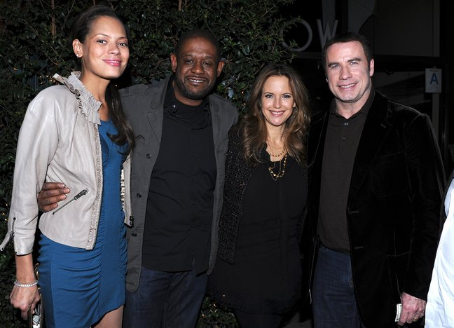 Kelly Preston, black top, black leggings, John Travolta