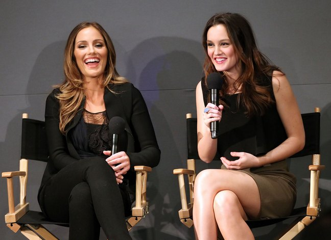 Leighton Meester black top, skirt, Minka Kelly black pant suit