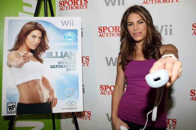 Jillian Michaels, purple tank top, wii fit