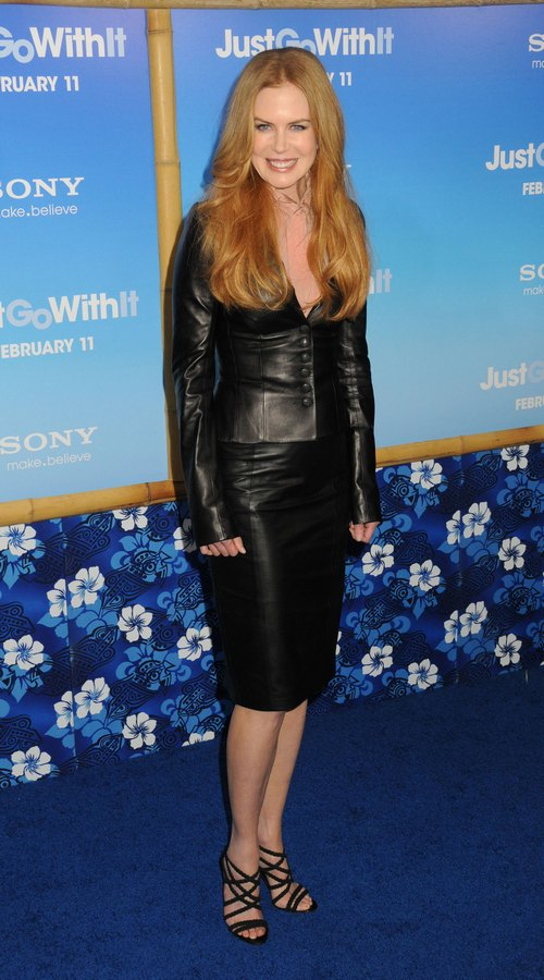 Nicole Kidman, black skirt, black top, sheer pink top