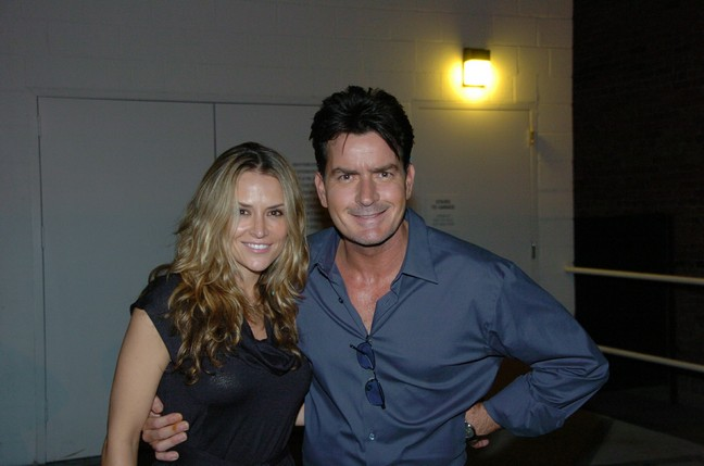 Charlie Sheen, blue shirt, Brooke Mueller