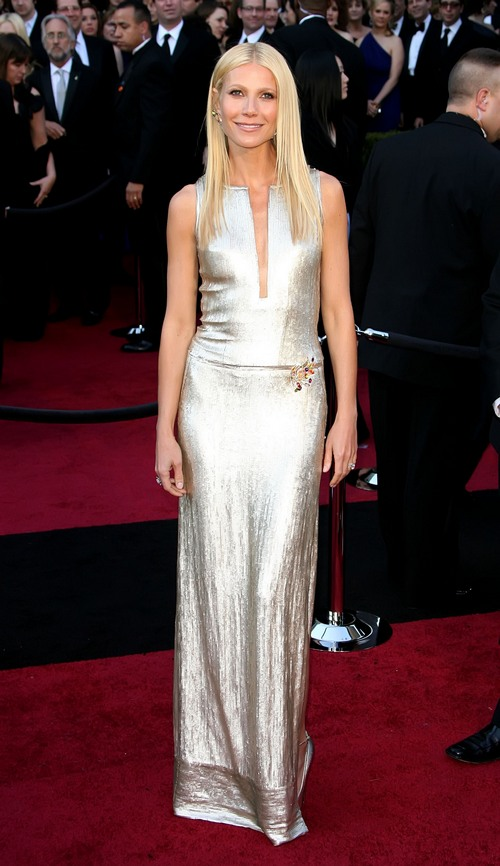 Gwyneth Paltrow gold Calvin Klein gown