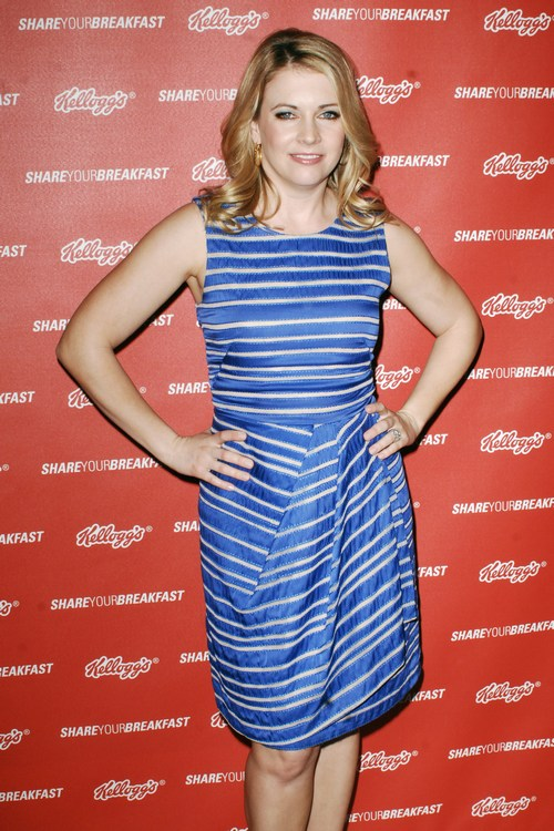 Melissa Joan Hart Blue striped dress