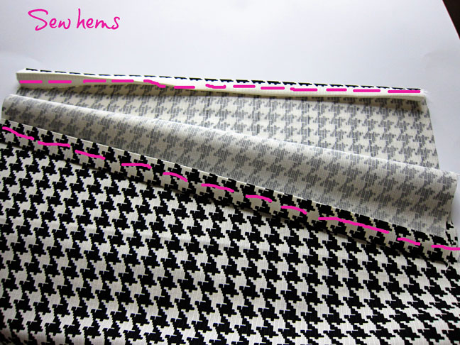 sew along the edges after measuring out fabric for the pillow case