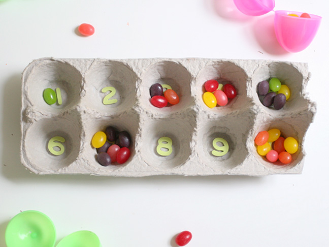Crafts with kids easter egg counting game for Plastic egg carton crafts