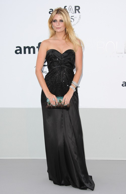 Mischa Barton black gown, black strapless dress