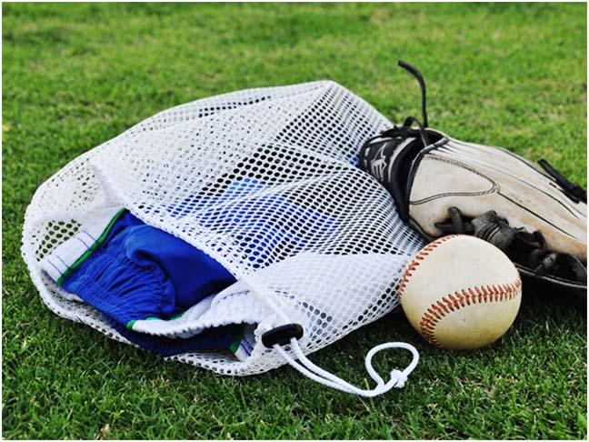 mesh sports bag baseball glove