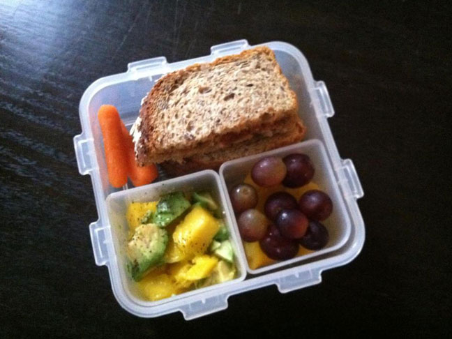 lunch box packed lunch school lunch salad mango avocado
