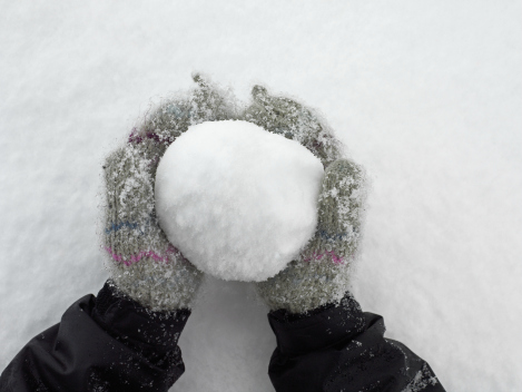snow packed in to a snowball