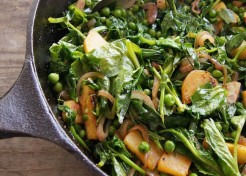 Pea Shoot Sweet Potato Stir Fry