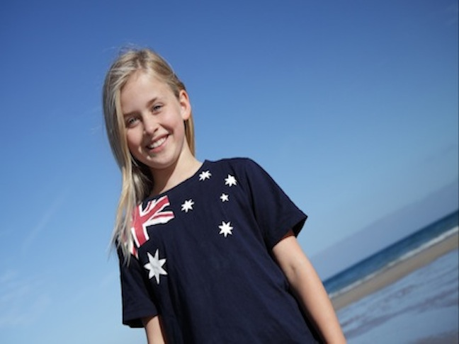 girl in australian tee shirt