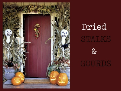 Fall Door Decor - Dried Stalks and Gourds