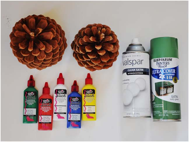 Pinecone Christmas Trees DIY Craft - Supplies