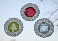 """Stained """"Glass"""" Doily Window Craft"""