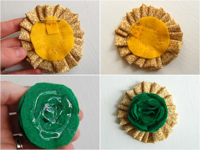 [picture 8] Use hot glue to attach the green felt flower to the center of the fabric ruffle. [picture 9] So sweet don't you think? Find more St. Patrick accessories here