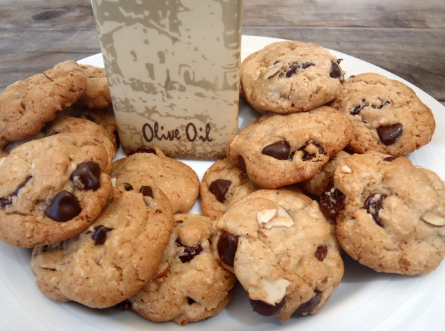 homemade chocolate chip cookies made with olive oil
