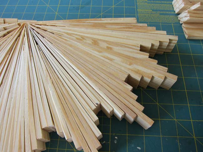 building a starburst mirror wood shims