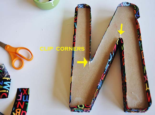 Letters covered in fabric for How to cover cardboard letters with fabric