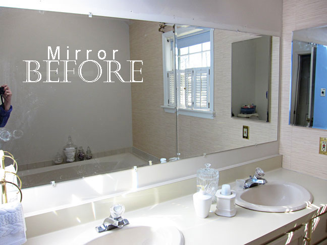 Framing A Bathroom Mirror Before And After how to frame a bathroom mirror