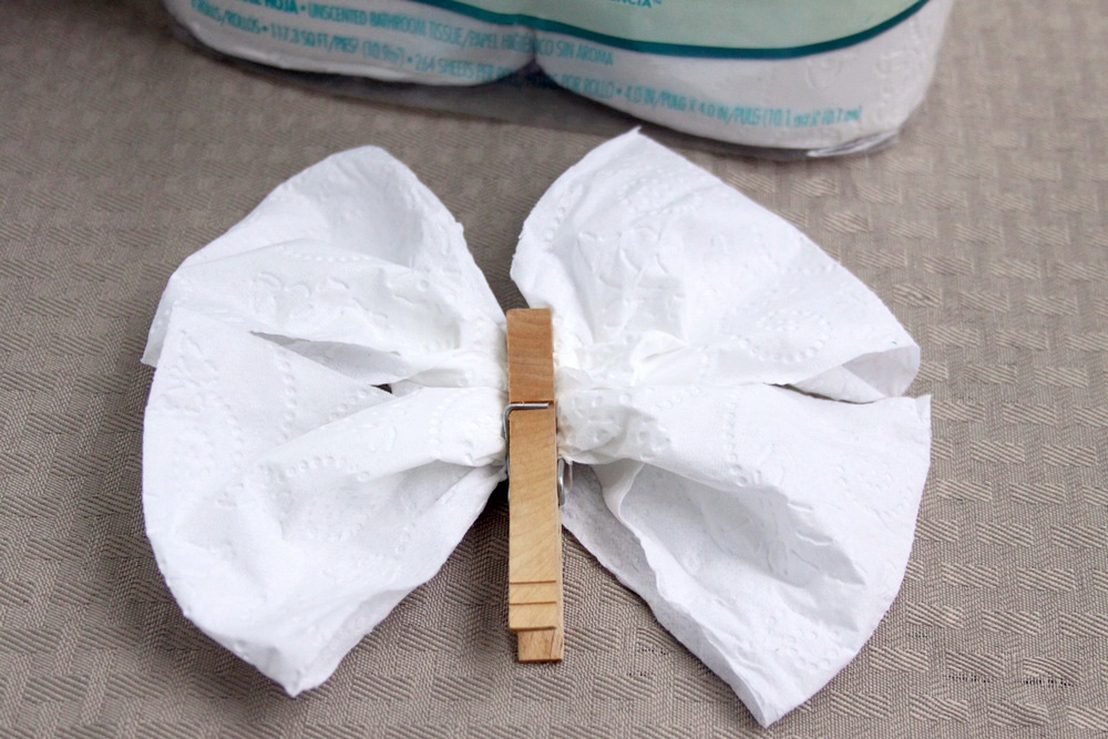 Origami Toilet Paper Butterfly Craft - Step 3